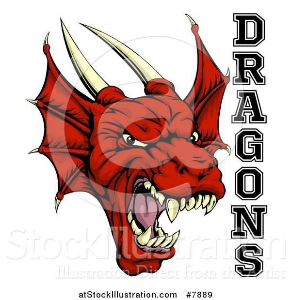 Vector Illustration of a Roaring Red Horned Dragon Mascot Face with Text