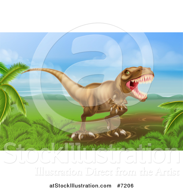 Vector Illustration of a Roaring Vicious Tyrannosaurus Rex Dinosaur in a Landscape