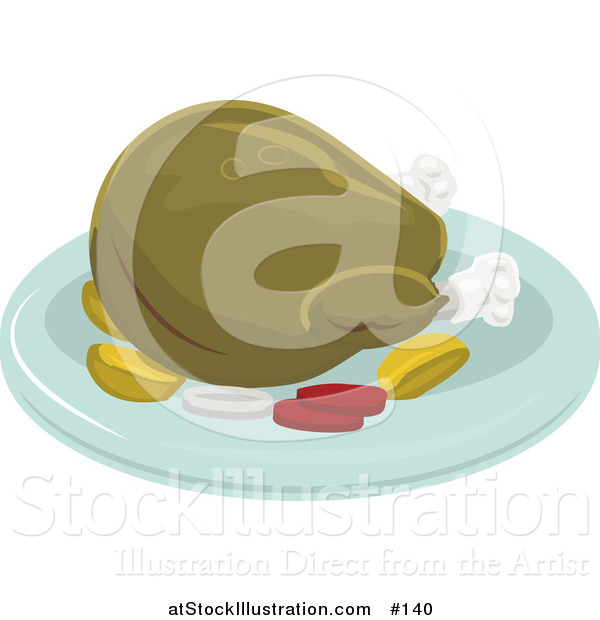 Vector Illustration of a Roasted Thanksgiving or Christmas Turkey on a Platter for a Meal