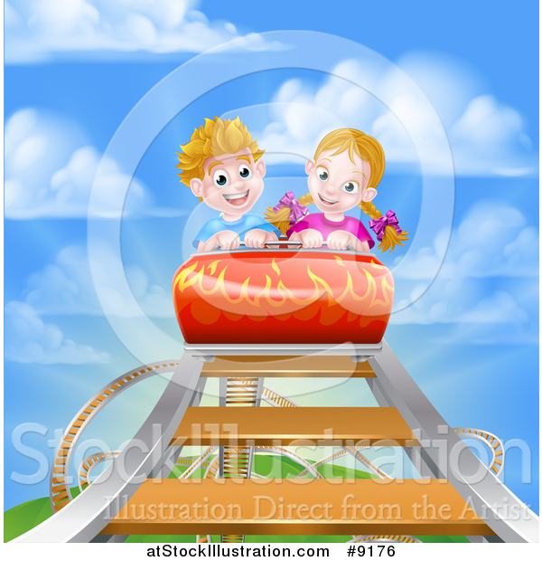 Vector Illustration of a Roller Coaster Ride, Against a Blue Sky with Clouds