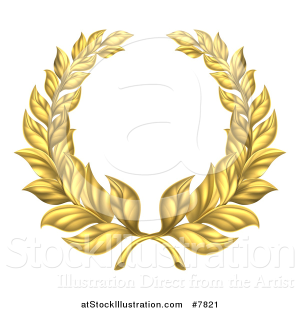 Vector Illustration of a Round Gold Laurel Leaf Wreath