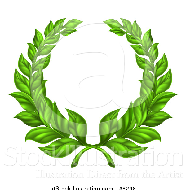 Vector Illustration of a Round Green Laurel Wreath of Two Branches