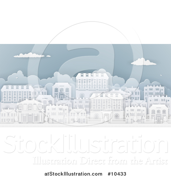 Vector Illustration of a Row of Paper Cut Styled Georgian or Victorian Houses in a Neighborhood, on Blue