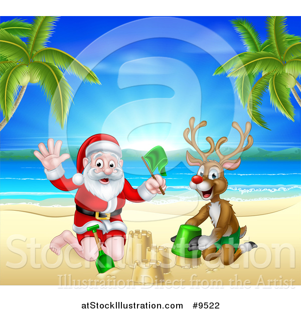 Vector Illustration of a Rudolph Red Nosed Reindeer and Santa Claus Making a Sand Castle on a Tropical Beach