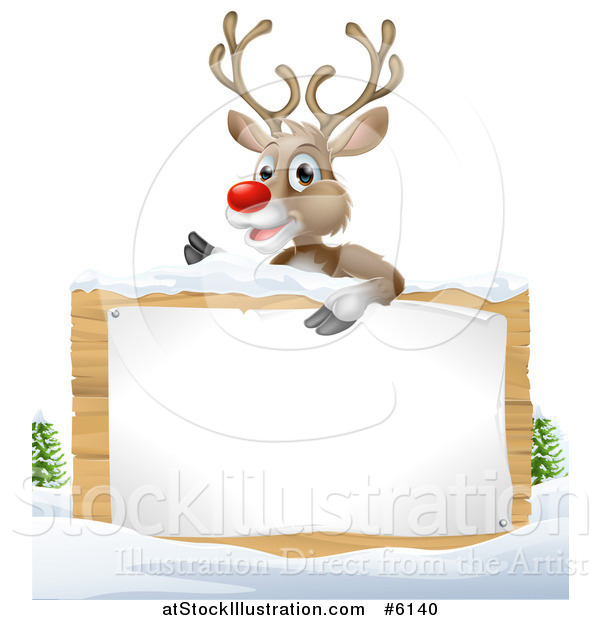 Vector Illustration of a Rudolph Red Nosed Reindeer over a Wood Sign in the Snow on White
