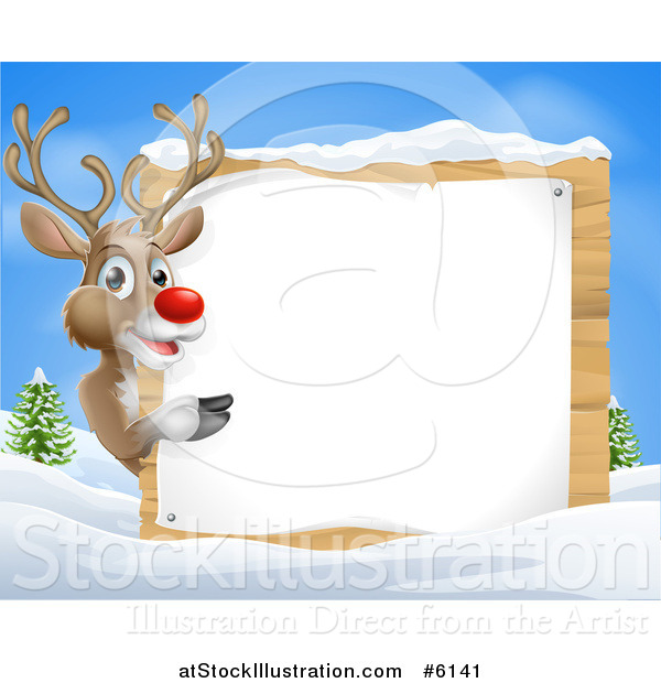 Vector Illustration of a Rudolph Red Nosed Reindeer Pointing Around a Wood Sign in the Snow Against Blue Sky