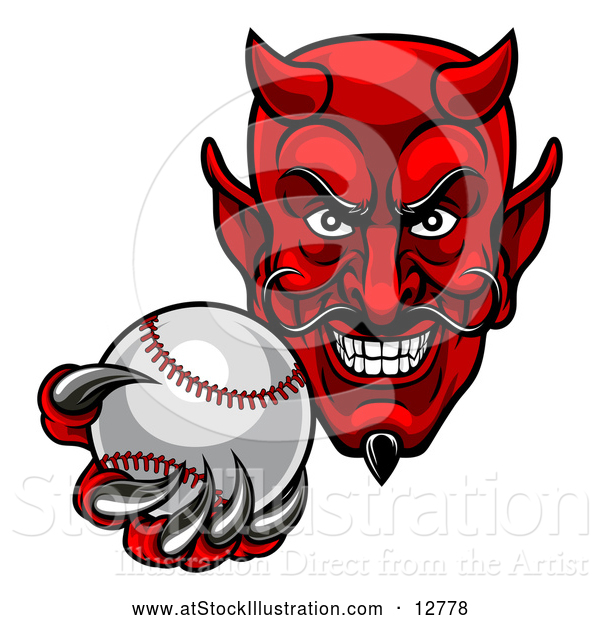 Vector Illustration of a Ruthless Baseball Devil Player Mascot Grinning While Gripping the Ball