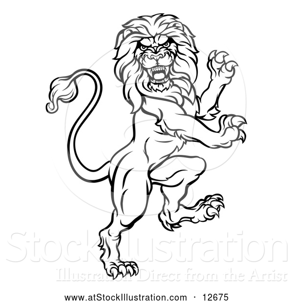 Vector Illustration of a Ruthless Lion - Black Outline