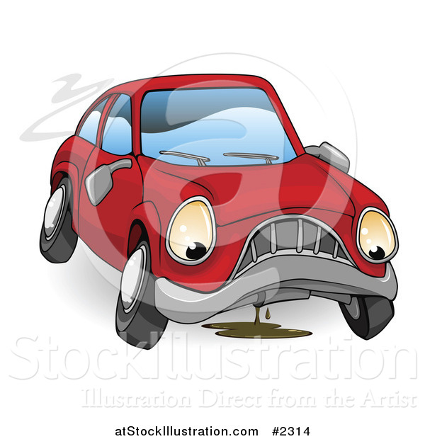 Vector Illustration of a Sad Leaking Car