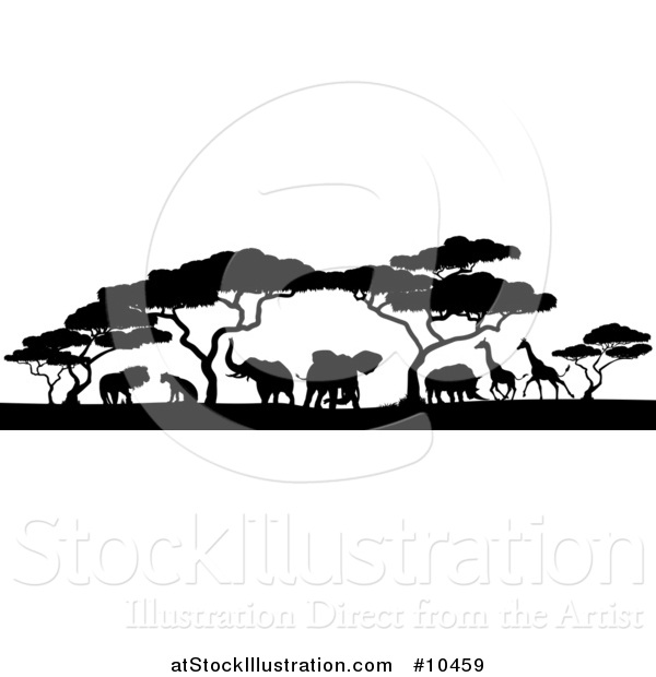 Vector Illustration of a Safari Scene of Black Silhouetted African Animals, Giraffes, Rhinos, Elephants and Lions, Under Acacia Trees