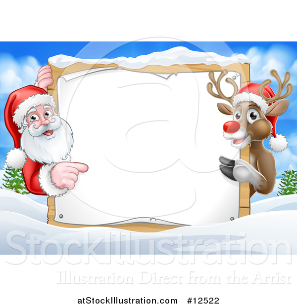 Vector Illustration of a Santa and Reindeer Presenting Blank Sign in a Snowy Landscape