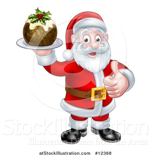 Vector Illustration of a Santa Claus Giving a Thumb up and Holding a Christmas Pudding