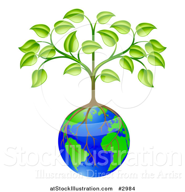 Vector Illustration of a Sapling Tree Growing Roots over a Globe