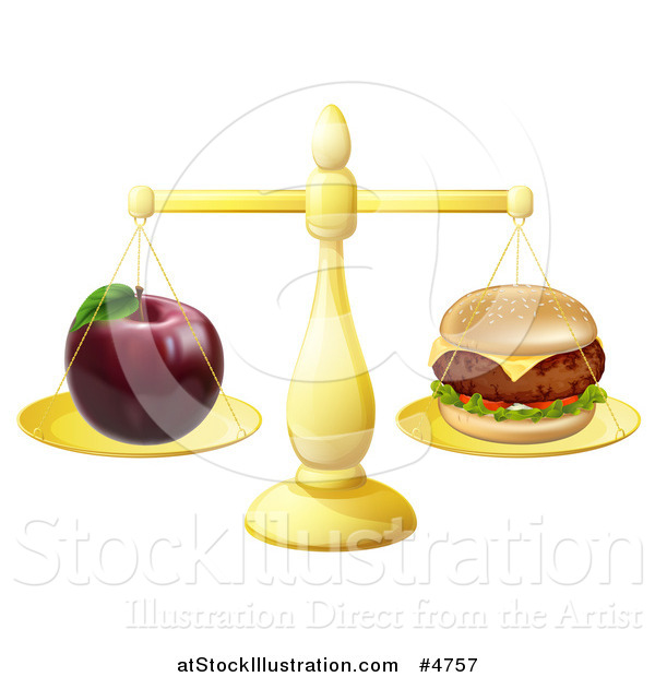 Vector Illustration of a Scale Balancing an Apple and Cheeseburger
