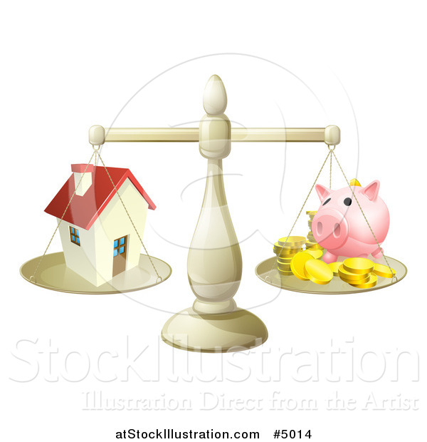 Vector Illustration of a Scale Comparing a House and Piggy Bank