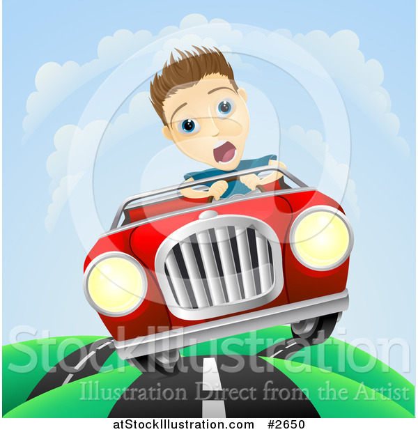 Vector Illustration of a Scared Man Losing Control of His Vintage Sports Car