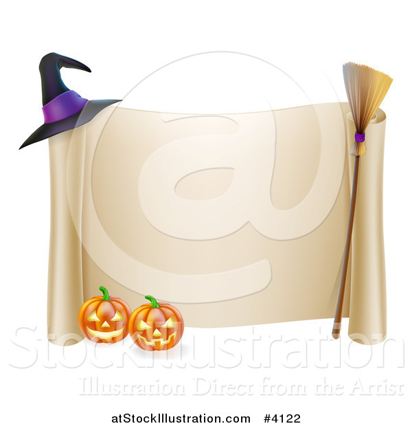 Vector Illustration of a Scroll Sign with a Witch Hat Broom and Halloween Pumpkins