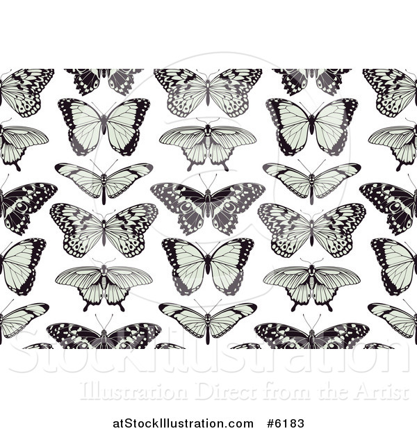Vector Illustration of a Seamless Background Pattern of Black and Green Butterflies on White