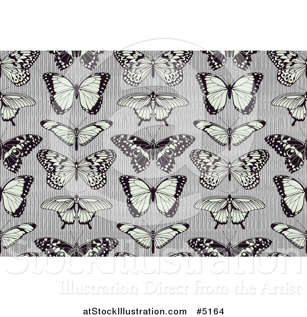 Vector Illustration of a Seamless Background Pattern of Butterflies on Stripes