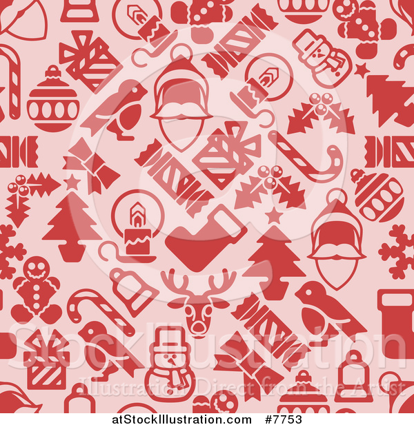 Vector Illustration of a Seamless Background Pattern of Red Christmas Items on Pink