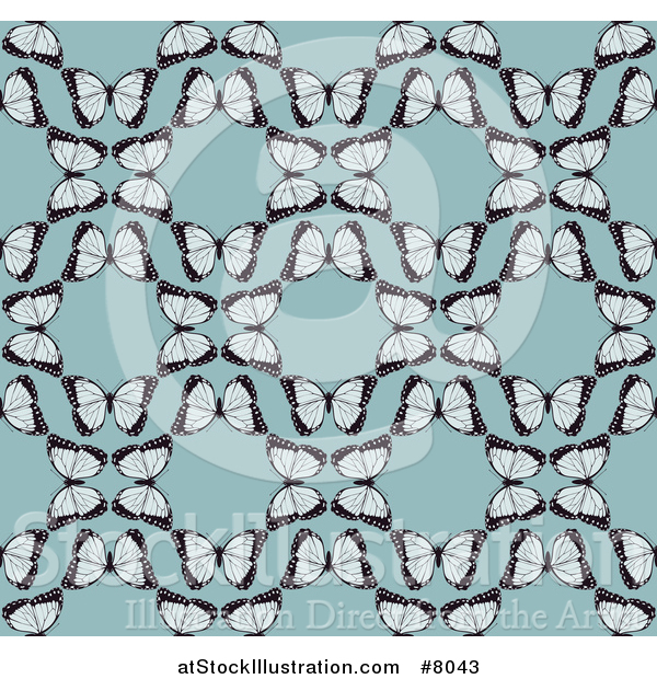 Vector Illustration of a Seamless Background Pattern of Vintage Butterflies Forming Circles over Blue