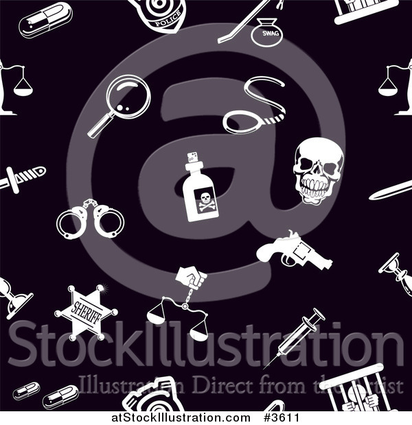 Vector Illustration of a Seamless Black and White Crim Law or Legal Icon Background Pattern