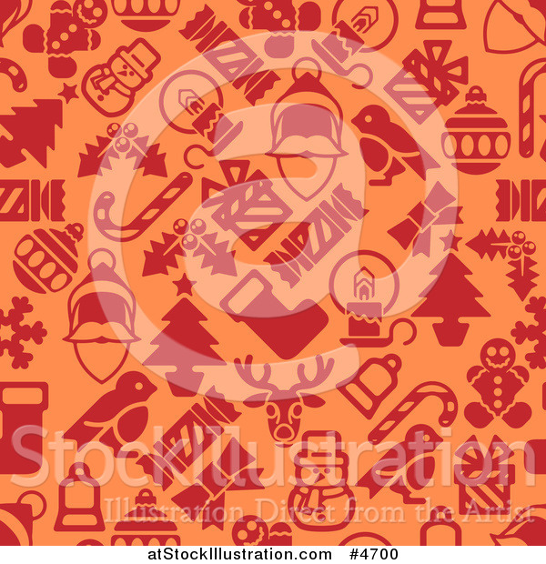 Vector Illustration of a Seamless Orange and Red Christmas Pattern with Santa Robins Snowmen Snowflakes and Other Items