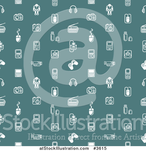 Vector Illustration of a Seamless Pattern of White Gadet Icons on Teal