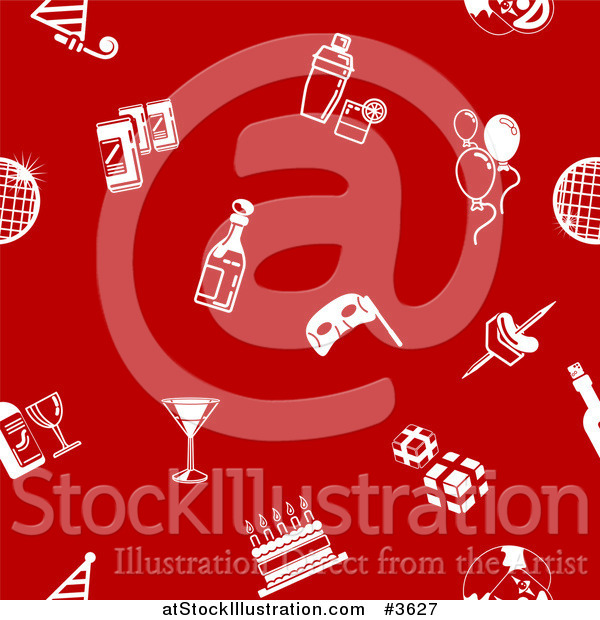 Vector Illustration of a Seamless Red Background with White Party Icons