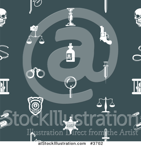 Vector Illustration of a Seamless Teal Crime Background Pattern with White Icons