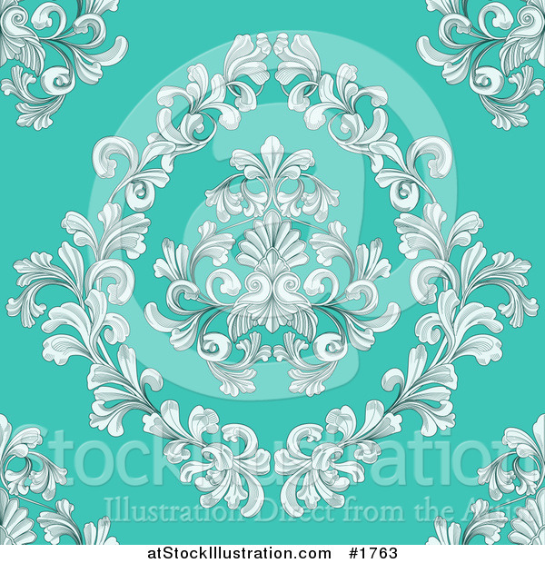 Vector Illustration of a Seamless Victorian Retro Floral Design Background on Turquoise