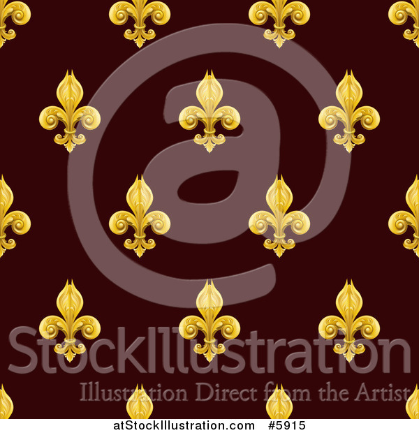 Vector Illustration of a Seamlessly Tileable Gold Fleur De Lis on Burgundy Background Pattern