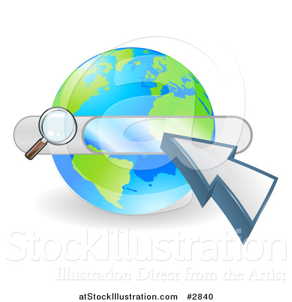 Vector Illustration of a Search Box and Arrow Cursor over a Globe