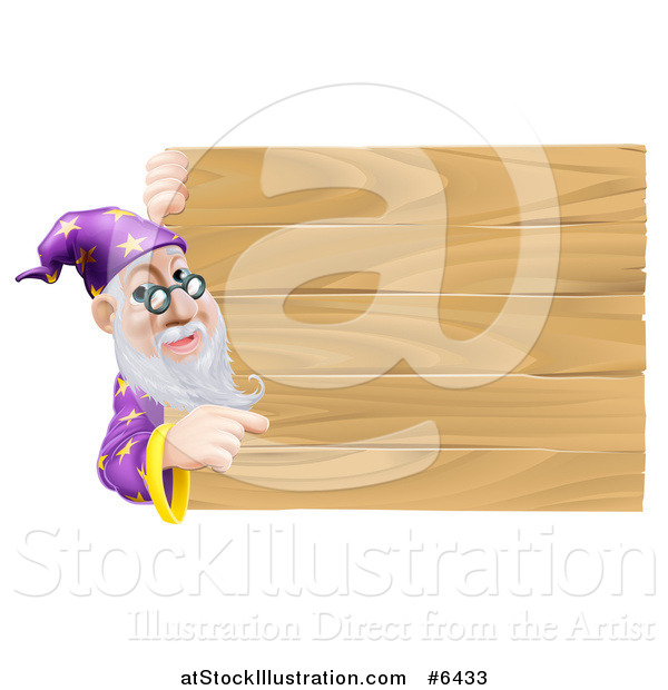 Vector Illustration of a Senior Male Wizard Pointing Around a Plank Wooden Sign