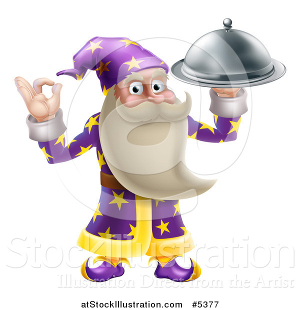 Vector Illustration of a Senior Wizard Holding up a Food Platter