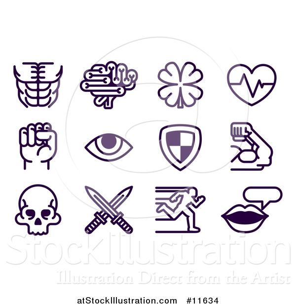 Vector Illustration of a Set of Video Game Attribute Icons