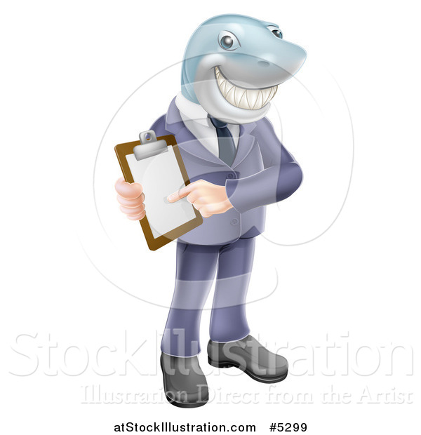 Vector Illustration of a Shark Businessman Pointing to a Contract