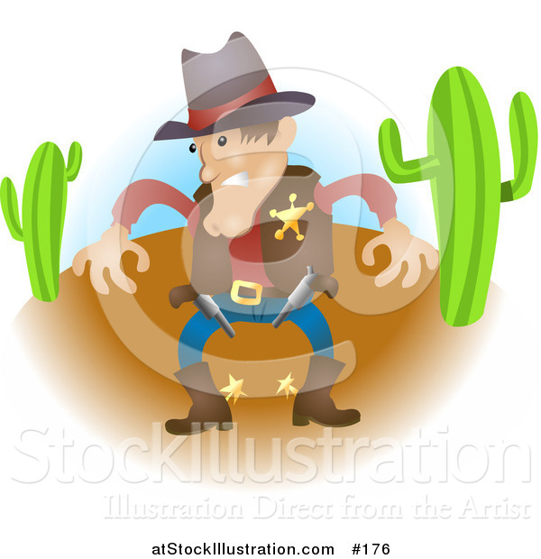 Vector Illustration of a Sheriff Cowboy in Western Wear in a Desert, Preparing to Draw His Guns