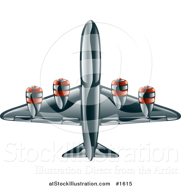 Vector Illustration of a Shiny Black Commercial Airliner Plane