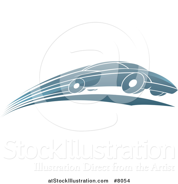 Vector Illustration of a Shiny Blue Sports Car Zooming by
