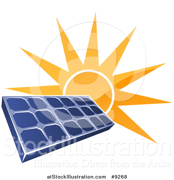 Vector Illustration of a Shiny Orange Sun Shining Behind a Blue Solar Panel Photovoltaics Cell