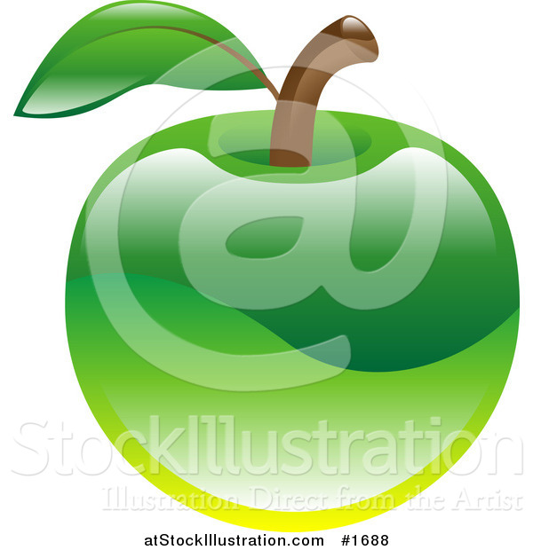 Vector Illustration of a Shiny Organic Green Apple