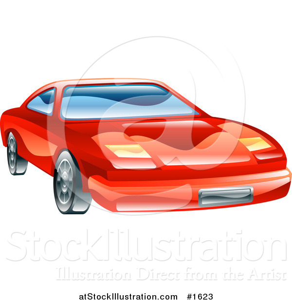 Vector Illustration of a Shiny Red Car with Flip Lights