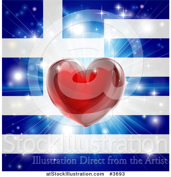 Vector Illustration of a Shiny Red Heart and Fireworks over a Greek Flag