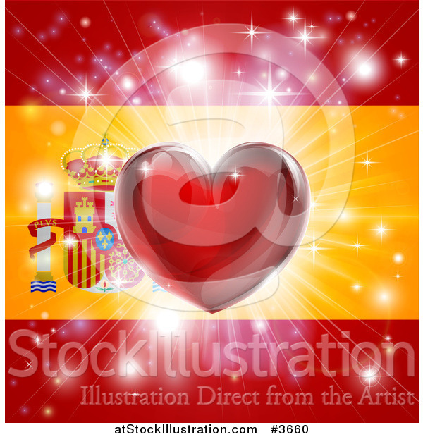 Vector Illustration of a Shiny Red Heart and Fireworks over a Spanish Flag