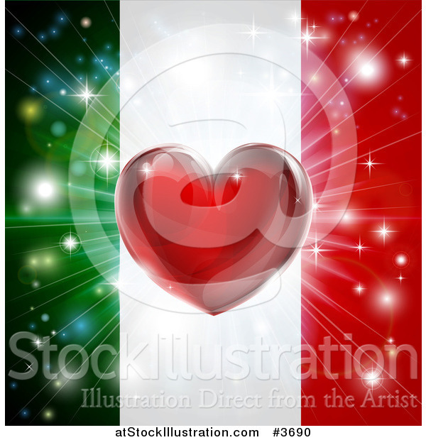 Vector Illustration of a Shiny Red Heart and Fireworks over an Italian Flag