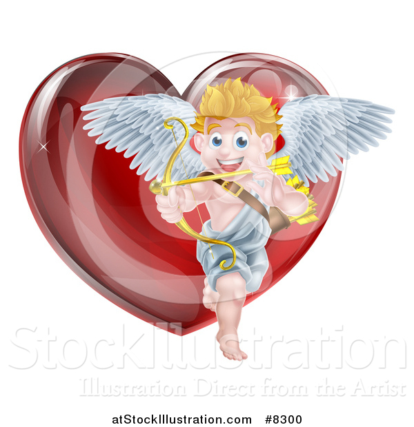 Vector Illustration of a Shiny Red Heart and Valentines Day Cupid Aiming an Arrow