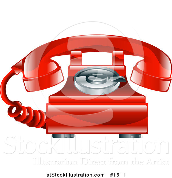 Vector Illustration of a Shiny Red Old Fashioned Landline Telephone