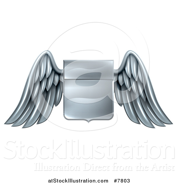 Vector Illustration of a Shiny Winged Metal Heraldic Coat of Arms Shield
