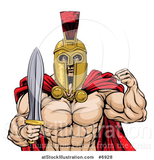 Vector Illustration of a Shirtless Muscular Gladiator Gladiator Man in a Helmet, Flexing His Bicep and Holding a Sword, from the Waist up